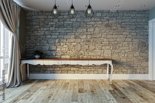 stone wall interior design living room, modern decorative
