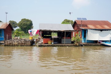 Floating houses on Sangker River, Cambodia
