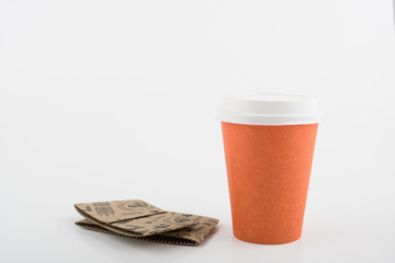 Paper Orange Color Coffee Cup on White Background