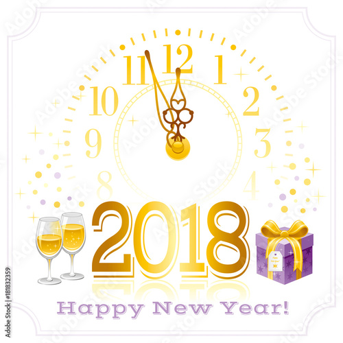 Happy New Year 2018 Text Logo Icon Vector Poster With Clock Wine