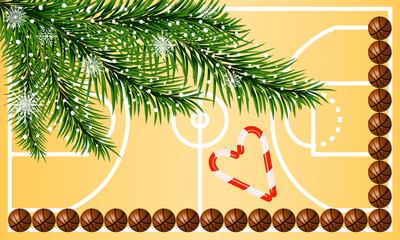 Happy New Year greeting card. Basketball greeting card.