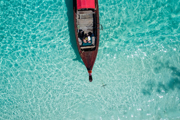 Overhead view of boat in sea