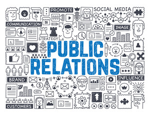 Public Relations - Hand drawn vector illustration