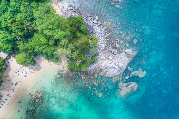 Aerial view of tropical coastline