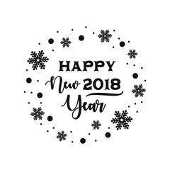 Happy new year calligraphy, 2018 vector.