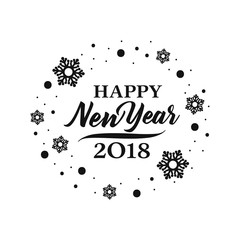 2018 Happy New Year lettering.