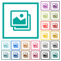 Pictures flat color icons with quadrant frames