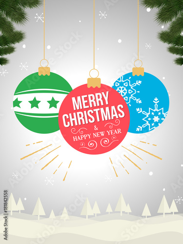 christmas card happy new year background wallpaper template