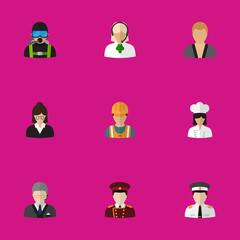 Set Of 9 Editable Profession Flat Icons. Includes Symbols Such As Doorman, Sportsman, Lecturer And More. Can Be Used For Web, Mobile, UI And Infographic Design.