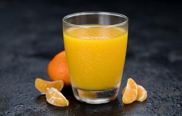 Homemade Tangerine Juice (close-up shot)
