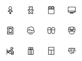Set Of 12 Editable Relatives Outline Icons. Includes Symbols Such As Sleeping, Daddy, Laundress And More. Can Be Used For Web, Mobile, UI And Infographic Design.