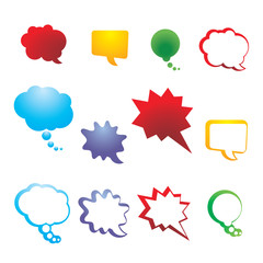 Colorful set isolated bubbles. Vector collection speech and thought communication bubbles.