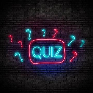 Quiz Neon Light on Brick Wall. Night Club Bar Blinking Sign Style. 3d render illustration.