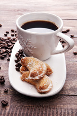 Coffee and Homemade cookies with sugar. Handmade Christmas cookies.