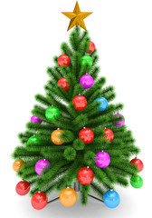 Christmas tree decorated with colorful Christmas balls and golden Christmas star - isolated on white