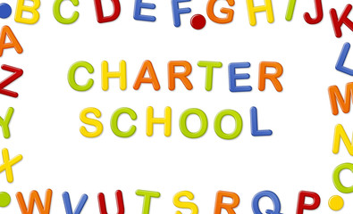 Educational Systems made out of fridge magnet letters isolated on white background: Charter School