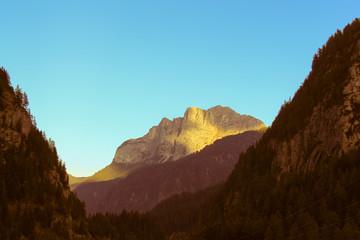 Mountain massif at sunset.