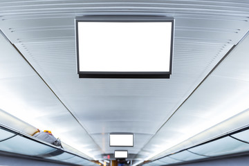 Public Transportation Interior Advertisement Screen Small Mockup Ceiling Hanging Electronic Computer Blank White
