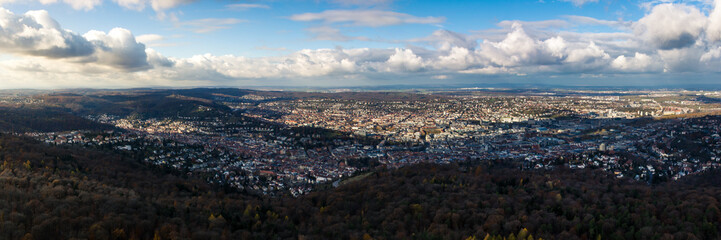 Stuttgart Landscape Kessel from Above Aerial View Clouds Beautiful Day Houses Rolling Hills Germany Europe Destination Panorama