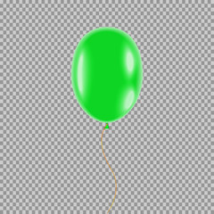 eps 10 vector balloon isolated on transparent background. Green 3d air balloon filled with helium hanging in the air. Graphic clip art object for web, print, design. Creative tool for holidays, events