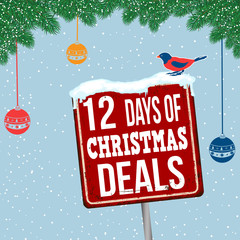 12 days of Christmas deals vintage rusty metal sign