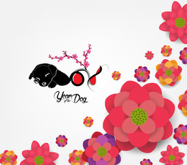 Chinese New Year 2018 - plum blossom Background. Year of the dog