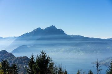 Aluminium Prints Buergenstock mountain landscape with fog, near lucerne switzerland