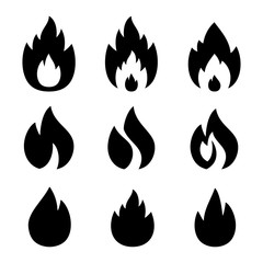 VECTOR. Set of  Fire signs. Fire logo. Business icon for the company. Logo for Oil / Gas / decoration of devices. Other companies. Abstract symbol of fire. Illustration.