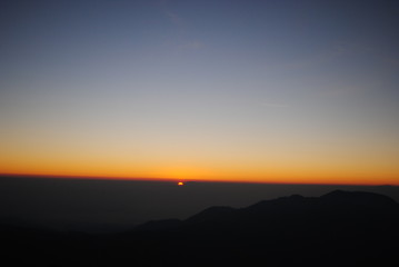 The sun rises at the top of the Prau mountain, dieng wonosobo