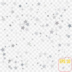 Abstract pattern of random falling silver stars on transparent  background. Elegant pattern for banner, greeting card, Christmas and New Year card, invitation, postcard, paper packaging. Vector