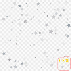 Holiday background with silver star confetti. Good background for Christmas and New Year cards.