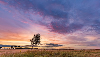 Beautiful spectacular sunset sky over meadows and fields