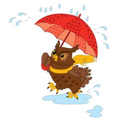 Vector Cute Cartoon Owl with Umbrella