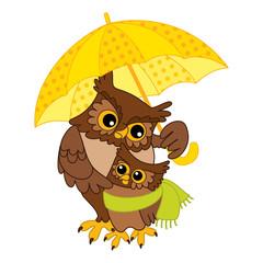 Vector Cute Cartoon Owls with Umbrella