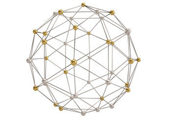 Sphere with connected lines and dots global digital connections wireframe. 3D illustration.