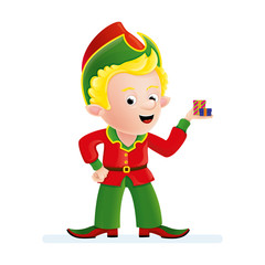 Christmas character. A elf with a gift. Assistant to Santa Claus. Vector.