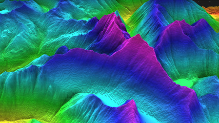 3D render of geology, soil slice, mountains isolated on dark background. cross section topology of ground relief with mountains and meadows. Wall mural