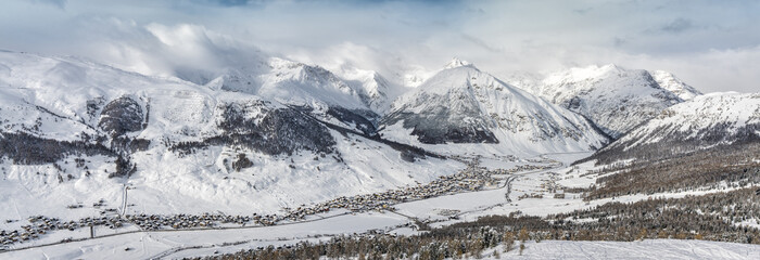 Winter panorama of Livigno charming town in Lombardy, Italy.