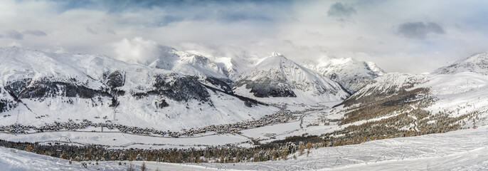 Winter panorama of Livigno town in Lombardy, Italy.