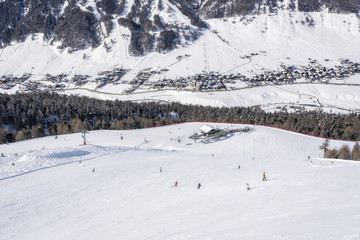 High angle view of Alp ski resort in winter, Lombardy, Italy