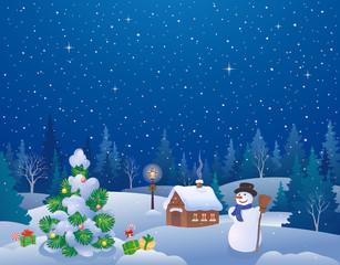 Winter night Christmas