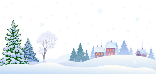 Winter village background