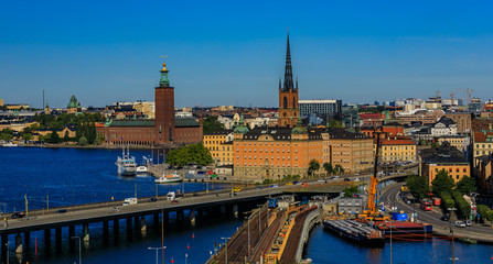 View onto Stockholm old town Gamla Stan and Riddarholmen in Sweden