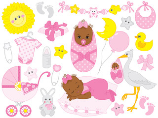 Vector Set with African American Baby Girl, Stork, Toys and Accessories