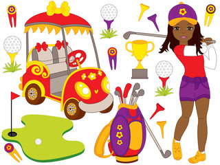 Vector Set with Beautiful Young African American Girl Playing Golf and Golf Accessories
