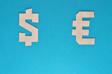 dollar and euro currency symbol on blue background