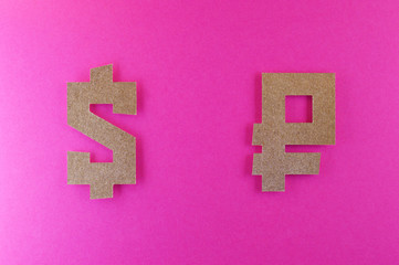 dollar and ruble currency symbol on pink background