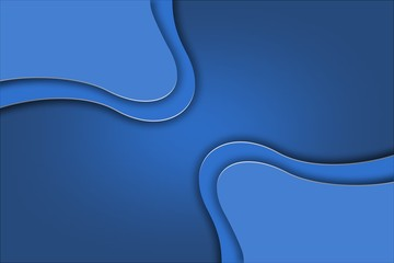 Blue curve line abstract background on blue space gradient color tone paper overlap layer.