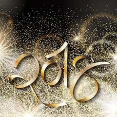 Happy new year 2018 illustration with gold glitters. Halftone golden glitter background with 2018 on it. Festive shiny backdrop with sparks and glares.