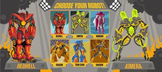 videogame choose robot screen